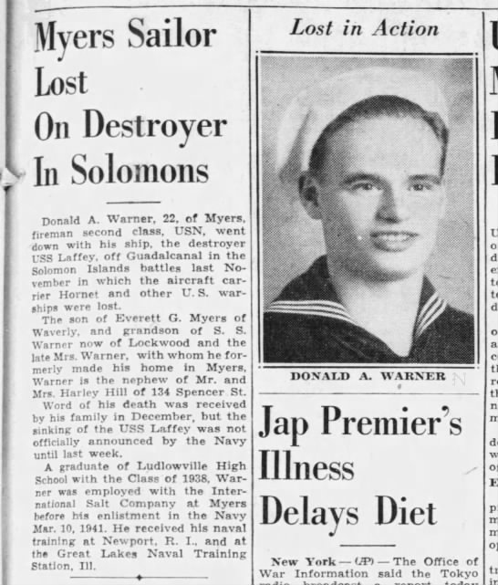 Death of sailor on USS Laffey at Guadalcanal - Myers Sailor Lost On Destroyer v Iii Solomons...