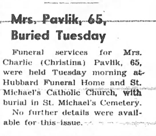 Christina Ulrich Pavlik Death Notice - 1-imeml »«'rvices for Mra. iiln (Christina)...