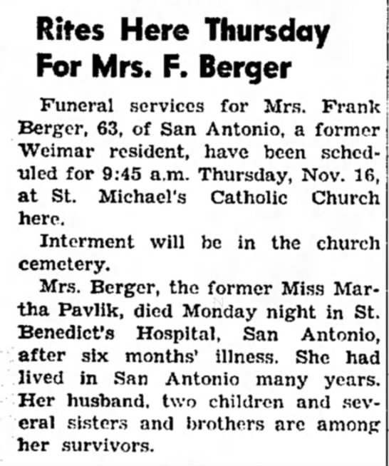 Martha Pavlik Berger Obituary - Rites Here Thursday For Mrs. F. Berger Funeral...