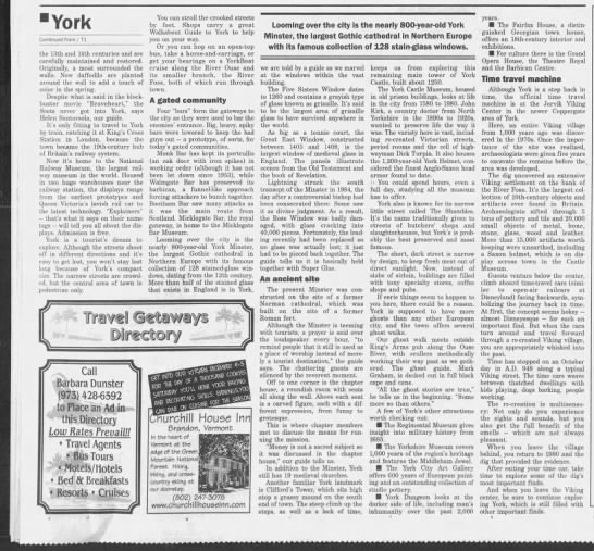 English Time Machine: York combines a rich past with modern attractions, pt. 2 - York Continued fromTl the 13th and 14th...