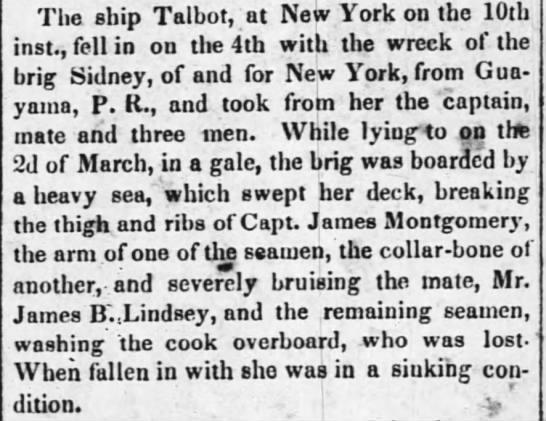 Guayama ship disaster March 1846 - The ship Talbot, at New York on the 10th inst.,...