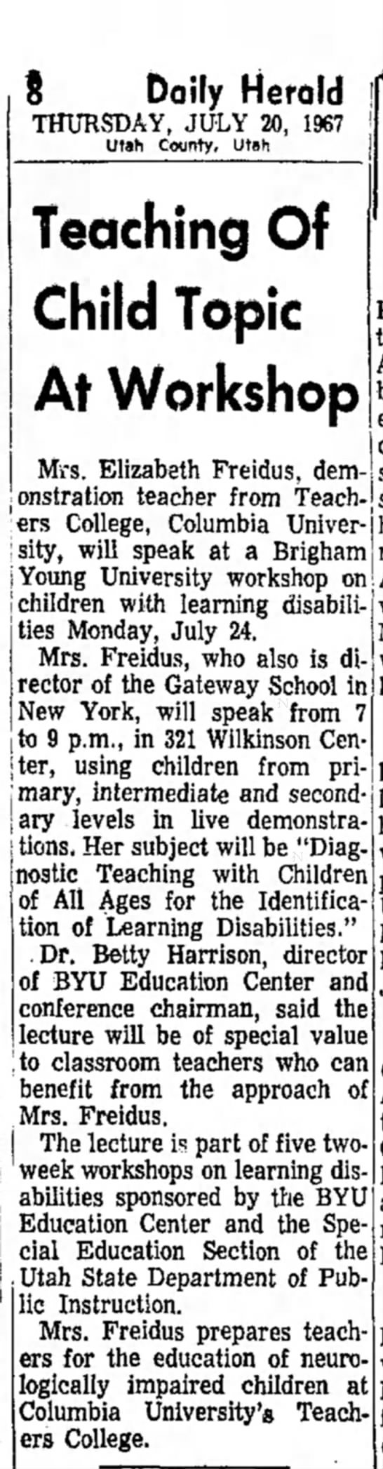 Liz Lecture - § Daily Herald THURSDAY, JULY 20, 1967 Utah...