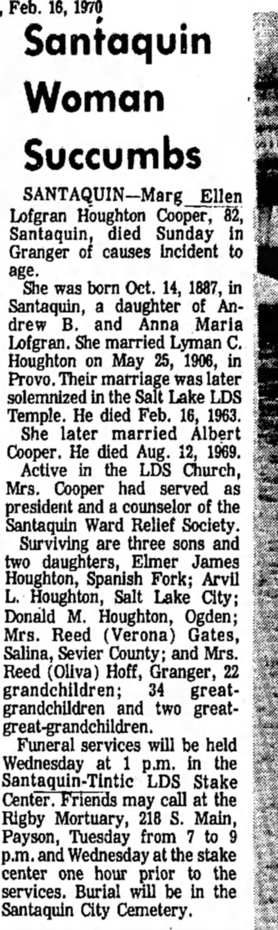 - , Feb. 16,1970 Saniaquin Woman Succumbs...