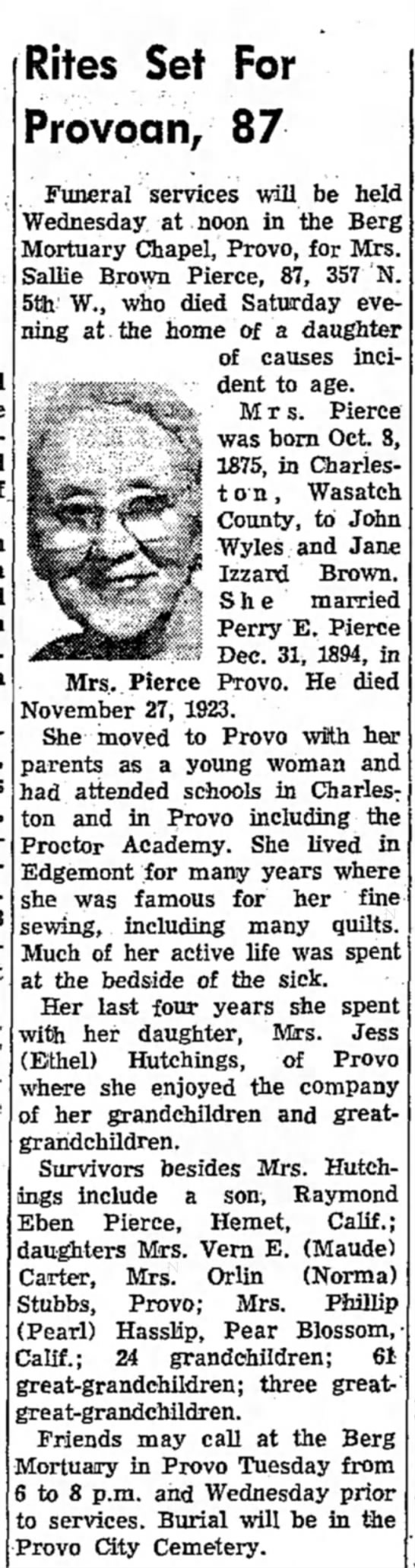 Sallie Brown Pierce's Obit 26 Nov. 1962