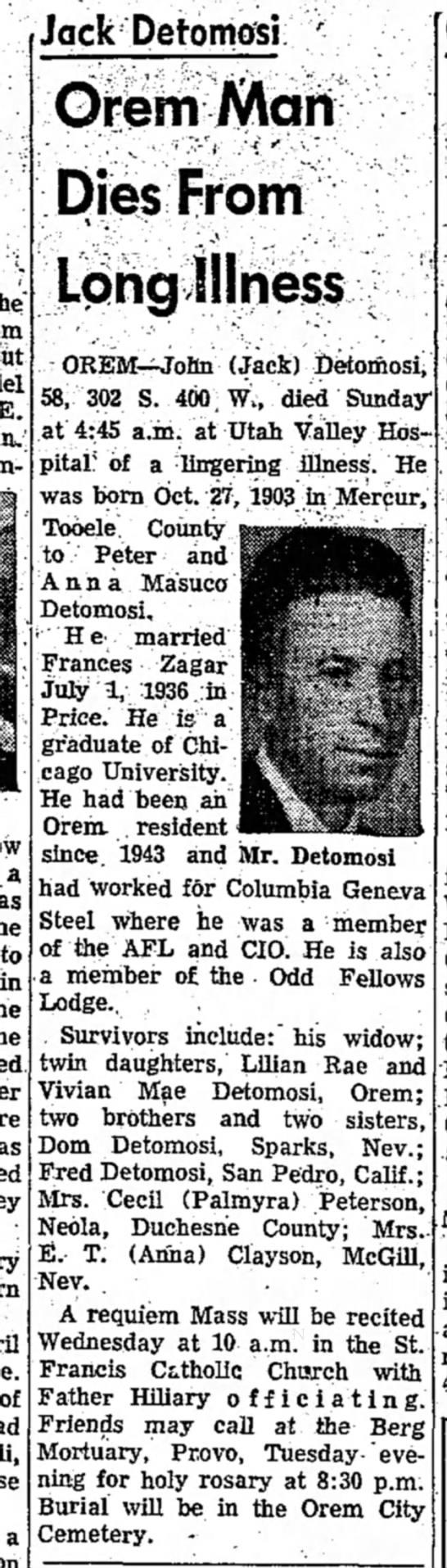"1961 ZAGAR --JACK DETOMOSI - E. a as to in of a Jack Detomosi Orem Man ""~'t..."