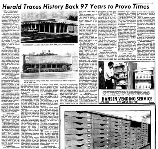 McEwan Daily Herald History, Pg. 1 - Herald Traces History Back 97 Years to Provo...