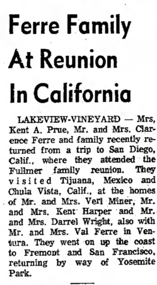 Clarence and Norma Fuller Ferre - Ferre Family At Reunion in California...