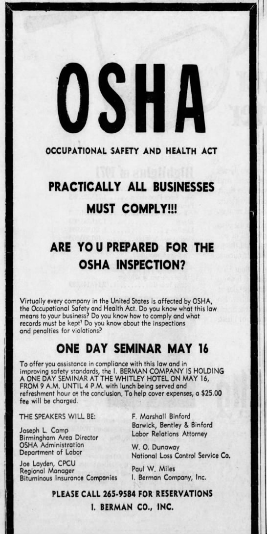 F. Marshall Binford - M ft OCCUPATIONAL SAFETY AND HEALTH ACT...