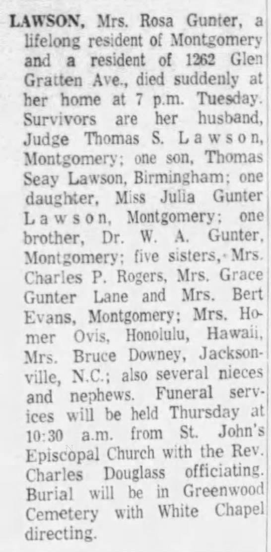 Rose Gunter Lawson Death - LAWSON'. Mrs. Rosa Gunter, a lifelong resident...