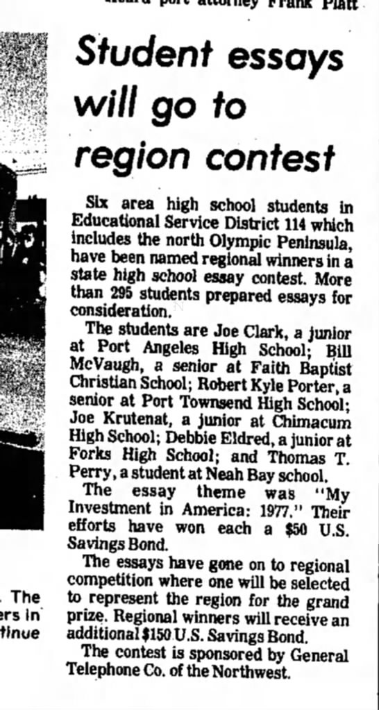 Daily News PA, WA 5/13/1977  Deb essay - The in Student essays will go to region contest...