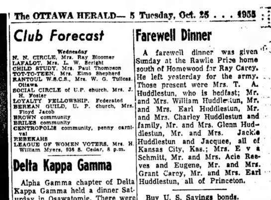 Rawlie Price home farewell dinner for Ray Carey - I The OTTAWA HERALD— 5 Tuesday, Od J5 I95S Club...