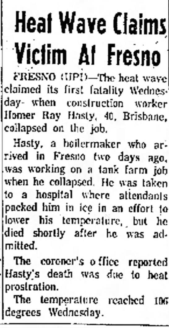 Homer Hasty death notice - bonanza tourist battling point that them...
