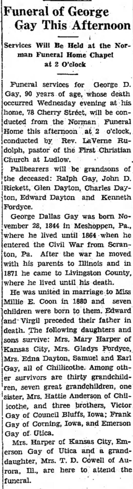 The Chillicothion-TribuneChillicothe, MissouriFebruary 9, 1935 - Funeral of George Gay This Afternoon Services...