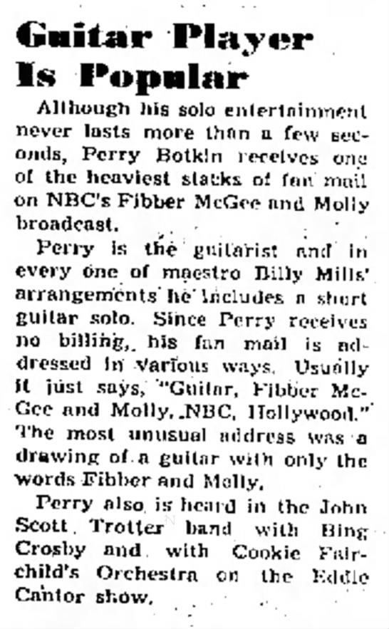 """Perry Botkin - Fibber McGee and Molly fan mail 1943 - p-,e""""l""""m Slnc- l y o( CM. Â« ~ Guitar Player Is..."""