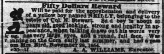 Nolan Stewart's runaway slave -- AA Williams - m Fifty DoUars ILewmrtt Win be paid for the...