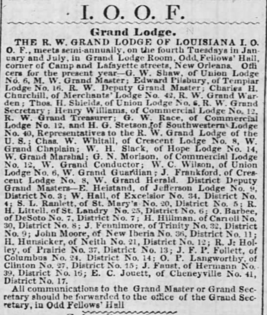 The Times-Picayune (New Orleans, LA) March 8, 1856. Charles W. Whitall - I. O. O. F. (Jrand Loire. THE R. W. GRAND LODGE...