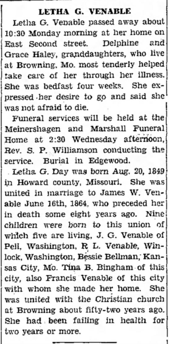 - LETHA G. VENABLE Letha G. Venable passed away...