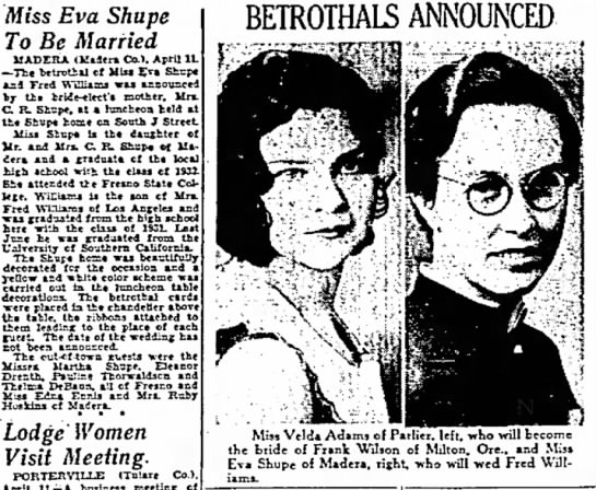 Eva Irene Shupe Williams engagement - Eva Shupe ' Be Married MADERA (Madcra Co.),...