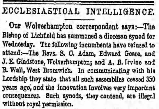 Edward Geare - ECCLESIASTICAL INTELLIGENCE, Our Wolverhampton...