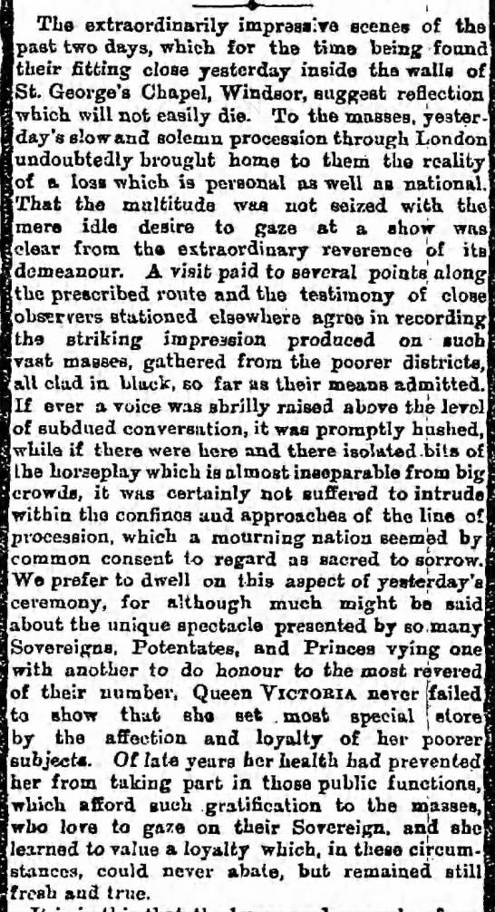 "Public reaction to Queen Victoria's funeral - Tlie extraordinarily impraa""Y8 scenes of the..."
