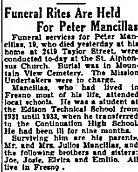 Peter Mancillas son of Julios Mancillas - Lcy' said. Funeral Rites Are Held For Peter...