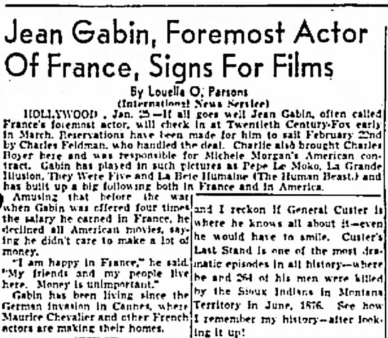 GABIN - 2 - Jean Gabin, Foremost Of France, Signs For Films...