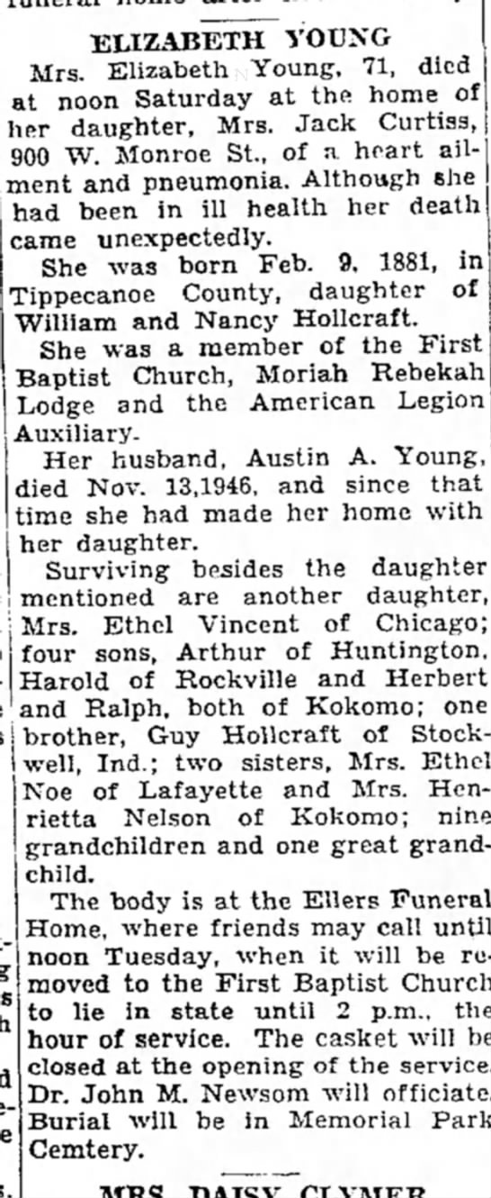 Elizabeth Young obit 12 May 1952 - ELIZABETH YOUNG Mrs. Elizabeth Young, 71, died...