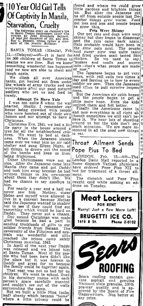 Feb 1945 story by 10 year old daughter  of Manila Bulletin manager held at St Tomas - bar. .lOYearOldGirlTells Of Captivity In...