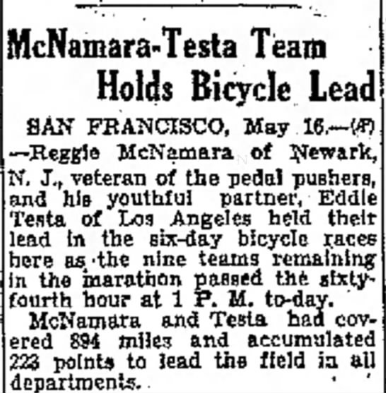 - McNamara-Testa Team Holds Bicycle Lead SAN...