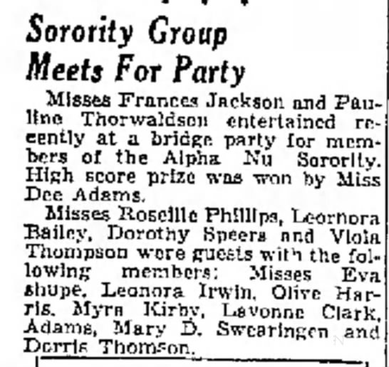 Eva's Sorority - Sorority Group Meets For Party Misses Frances...