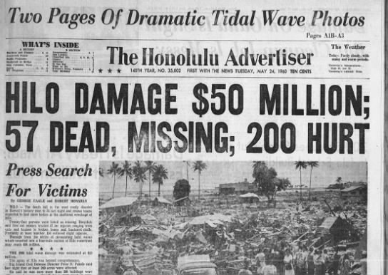 May 1960: Chilean quake causes massive tsunami - wo Pas WHAT'S A SECTION Bmlnm Jnl Finnic ,...