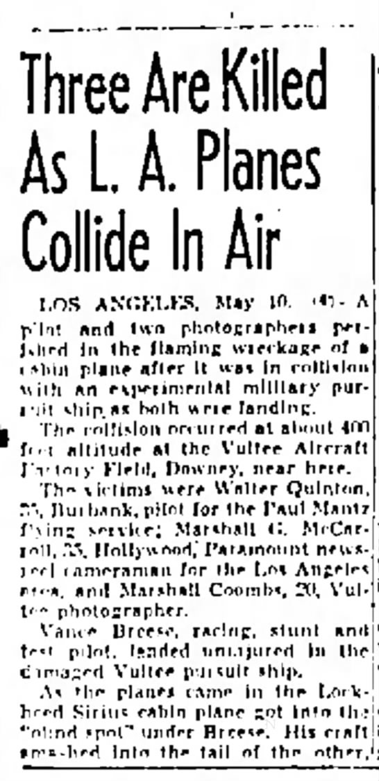 - As L A. Planes Collide In Air LOS ANGELES, May...