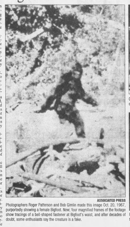 Frame from famous 1967 Bigfoot film - Pat- man-made a detract-; pres-, .- .- .TS -sJ8...