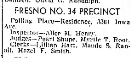 1942 Polling at 3361 - Pace FRESNO NO. 34 PRECINCT Polllns...
