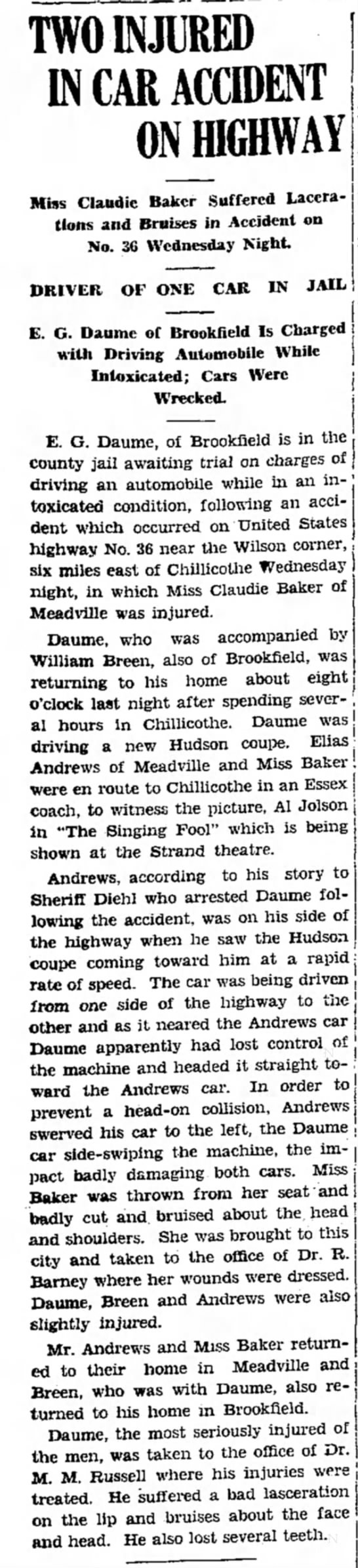 Daume-MO article 1929 - TWO INJURED IN CAR ACCIDENT ON HIGHWAY I Miss...
