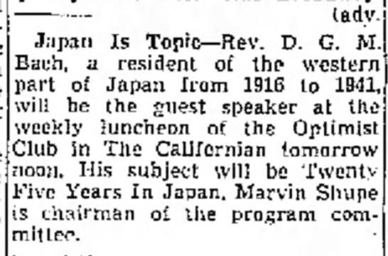 Marvin Shupe, Optimist Club - a he he Japan Is Topic--Rev. D. G. M. Bach, a...