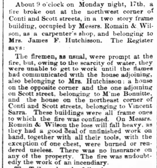 Romain carpentry business caught fire 5.19.1858 - About 9 o'clock on Monday night, 17th, a lire...