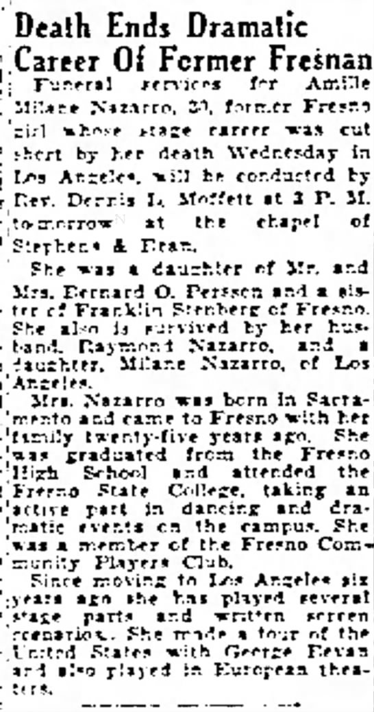 Obituary for Amille Milane Nazarro (nee Stenberg or Peterson?) - agriculture was held. Ends Dramatic Of Former...