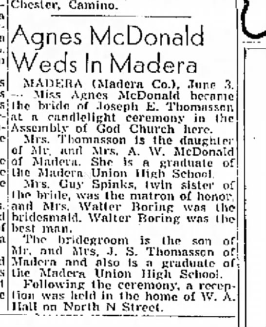 Agnes McDonald wedding announcement 04 Jun 1944