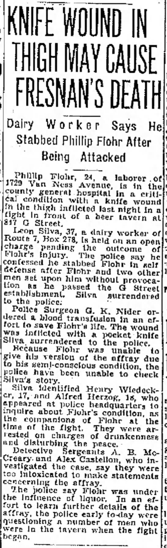 Phillip Flohr, Knife Wound, 16 Sep 1934, The Fresno Bee, Fresno, CA - at the r of the in- two California. engaged e p...