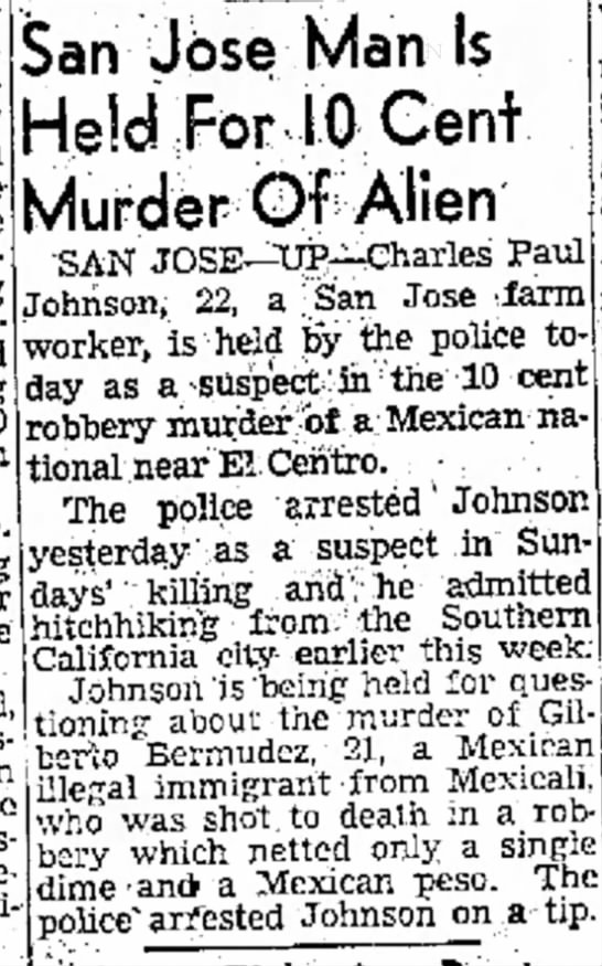 Charles and Harv Johnson Murder of Alien - day the The eve such yea -- - ~ districts...