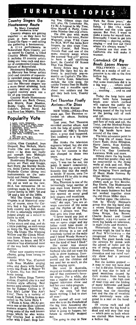 1964 - January 12 - The Fresno Bee The Republican - pg 111 - T U R N T A B l E TO Country Singers Go...