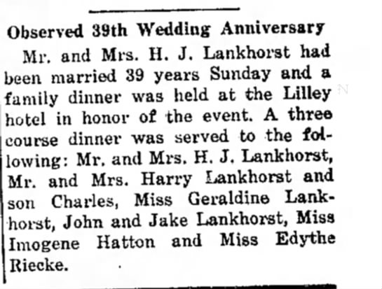 The Independent (Hawarden, Iowa) 5 Oct 1939 pg 5 - Observed 39th Wedding Anniversary Mr. and Mrs....