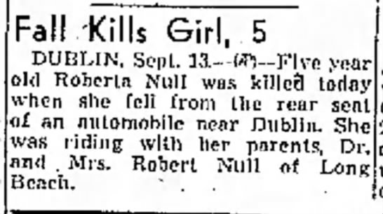 Girl falls out of auto, 1941 - Fall .-Kills Girl, 5 DUBLIN, Sept. 13.--W--Five...