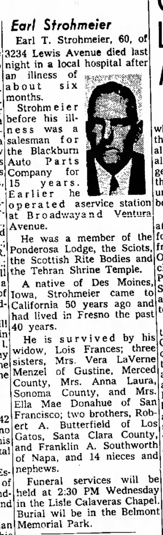 Earl (Herold) Strohmeier--15 Feb 1965 The Fresno Bee The Republican, Fresno, California