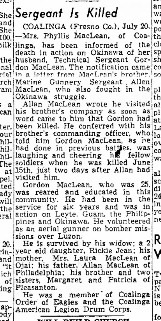 Gordon Maclean: Sergeant is Killed.  The Fresno Bee20 July 1945, pg 10 - She and She milk the program a Mexican four The...