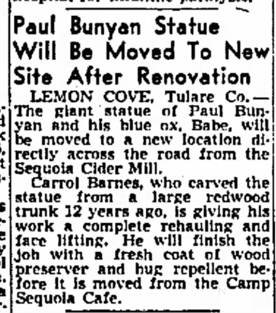 1952 Paul Bunyan statue moving to site across from Cider Mill - clerk 15, against game a Paul Bunyan Statue...