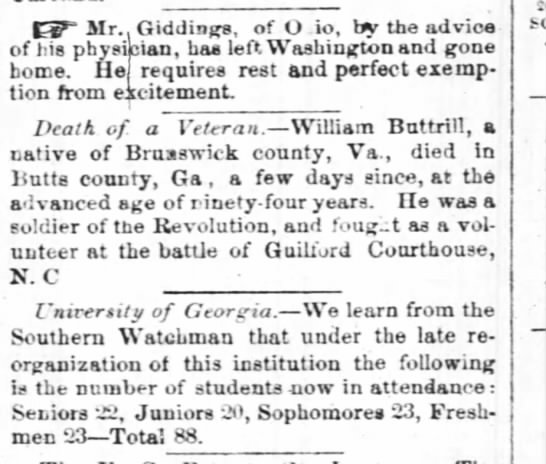 Death of 94 year old William Buttrill - CP Mr.. Giddings, of O io, by the advice of his...