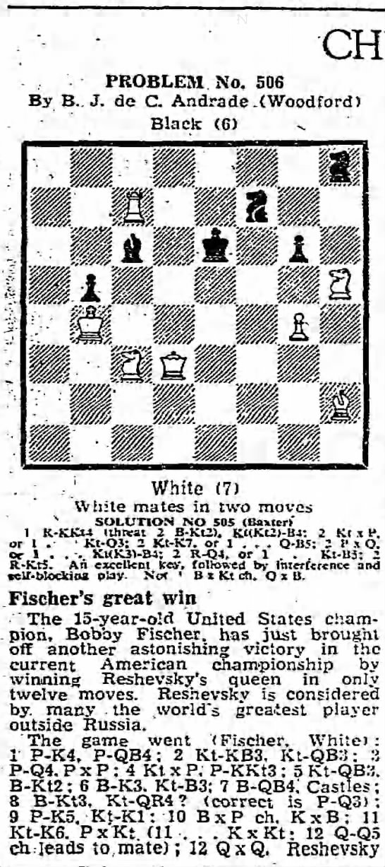 Chess Problem No. 506 - PROBLEM No. 506 By B.. J. de C. Andrade...
