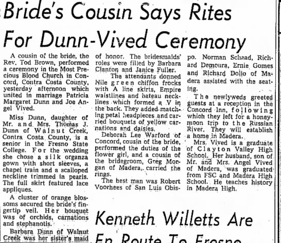 Dunn-Vived wedding, Joe Angel Vived - even in Bride's Cousin Says Rites For...